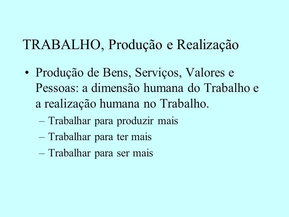 TRABALHO, Produção e Realização