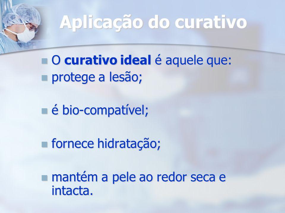 Aplicação do curativo O curativo ideal é aquele que: protege a lesão;