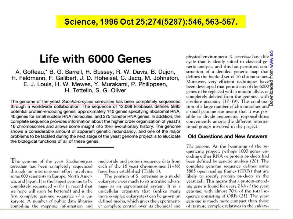Science, 1996 Oct 25;274(5287):546, 563-567.