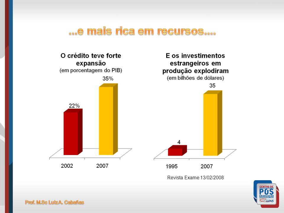 ...e mais rica em recursos.... Revista Exame 13/02/2008