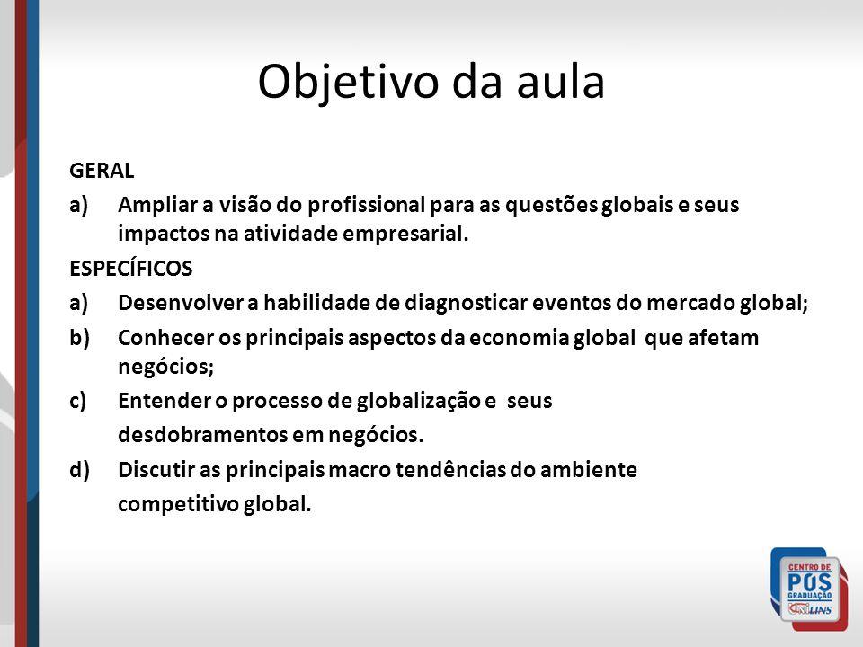 Objetivo da aula GERAL. Ampliar a visão do profissional para as questões globais e seus impactos na atividade empresarial.