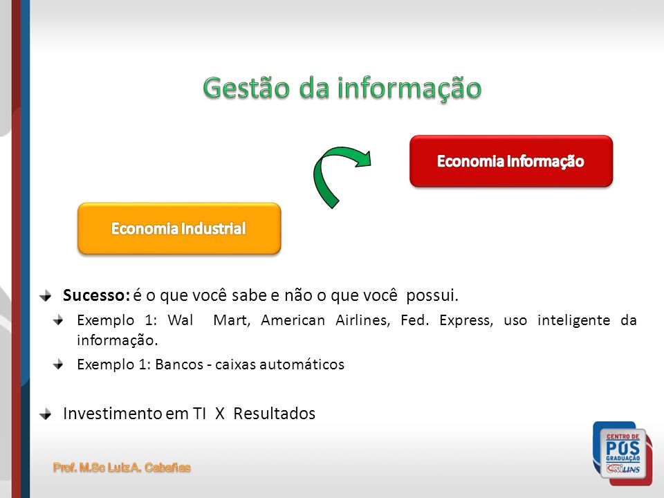 Gestão da informaçãoEconomia Informação. Economia Industrial. Sucesso: é o que você sabe e não o que você possui.