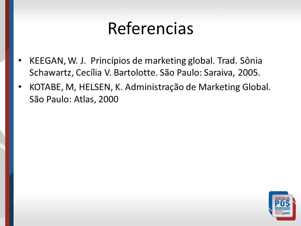 Referencias KEEGAN, W. J. Princípios de marketing global. Trad. Sônia Schawartz, Cecília V. Bartolotte. São Paulo: Saraiva, 2005.