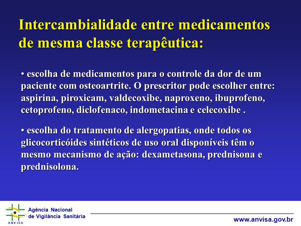 Intercambialidade entre medicamentos de mesma classe terapêutica: