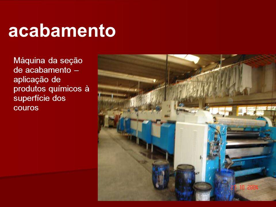 acabamento Máquina da seção de acabamento – aplicação de produtos químicos à superfície dos couros