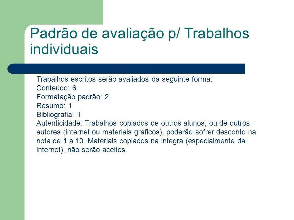 Padrão de avaliação p/ Trabalhos individuais