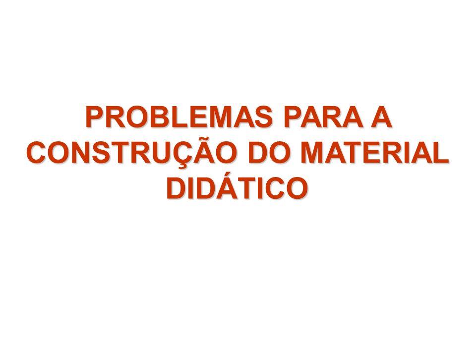 PROBLEMAS PARA A CONSTRUÇÃO DO MATERIAL DIDÁTICO