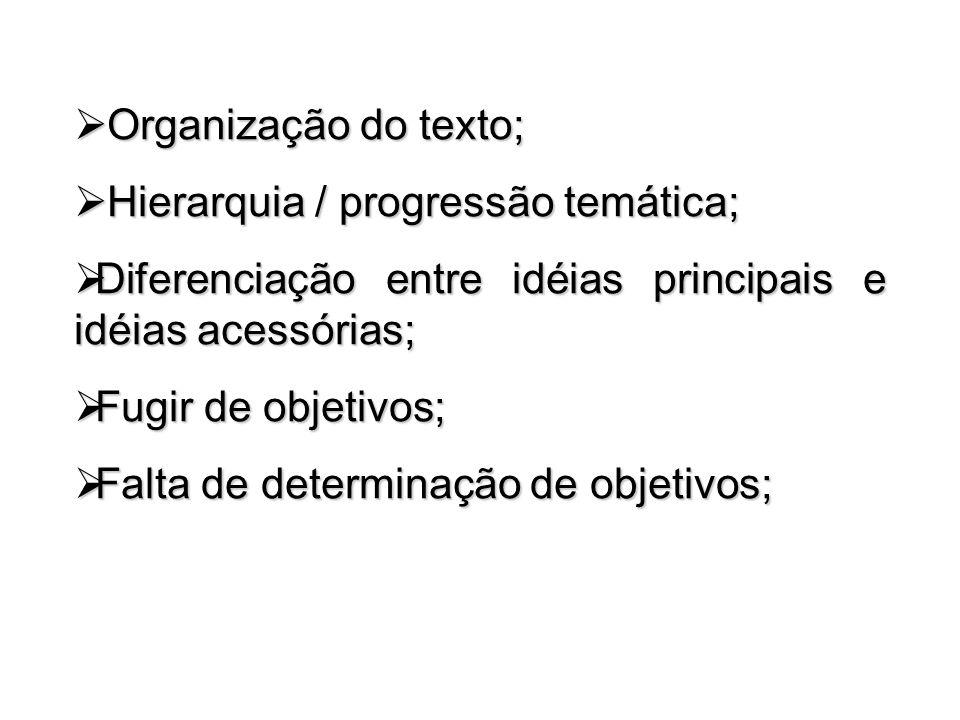 Organização do texto; Hierarquia / progressão temática; Diferenciação entre idéias principais e idéias acessórias;