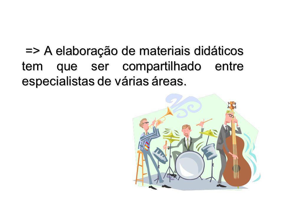 => A elaboração de materiais didáticos tem que ser compartilhado entre especialistas de várias áreas.