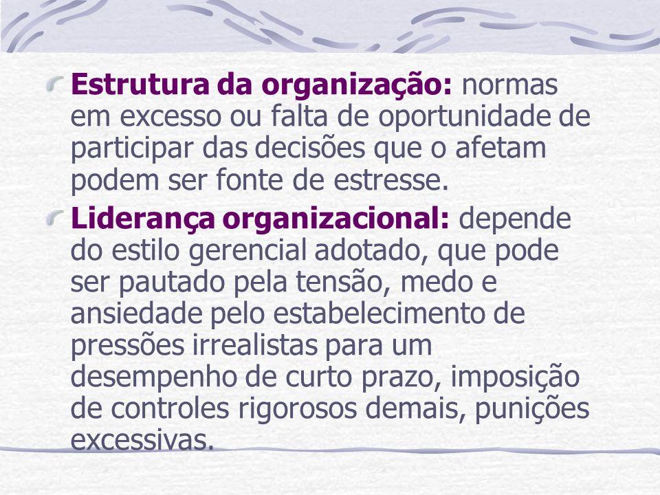 Estrutura da organização: normas em excesso ou falta de oportunidade de participar das decisões que o afetam podem ser fonte de estresse.