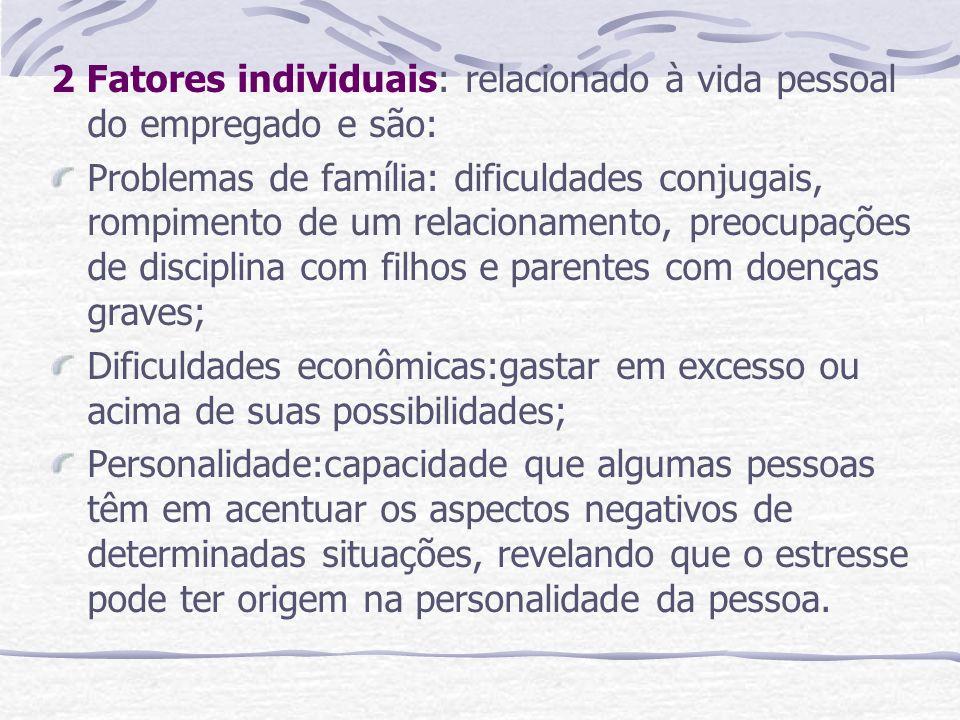 2 Fatores individuais: relacionado à vida pessoal do empregado e são: