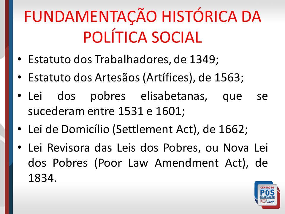 FUNDAMENTAÇÃO HISTÓRICA DA POLÍTICA SOCIAL