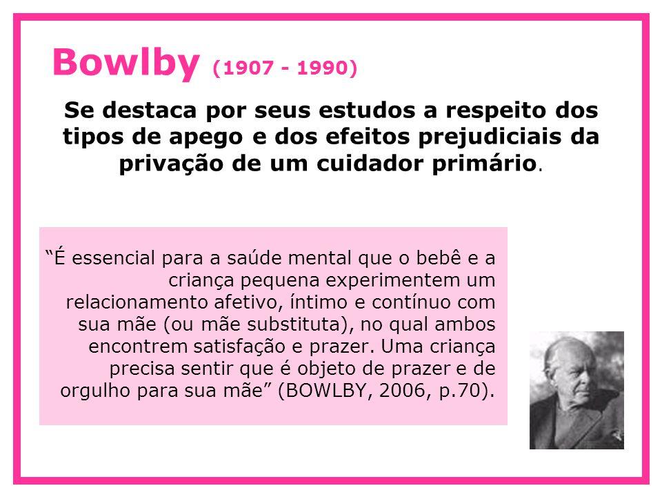 Bowlby (1907 - 1990) Se destaca por seus estudos a respeito dos tipos de apego e dos efeitos prejudiciais da privação de um cuidador primário.