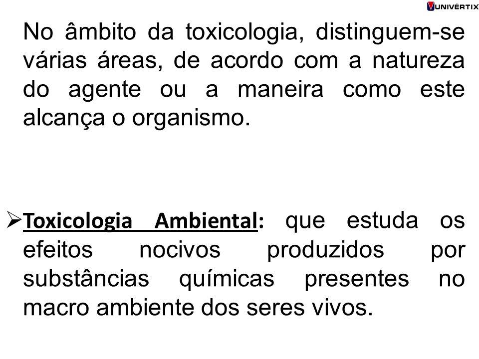 No âmbito da toxicologia, distinguem-se várias áreas, de acordo com a natureza do agente ou a maneira como este alcança o organismo.