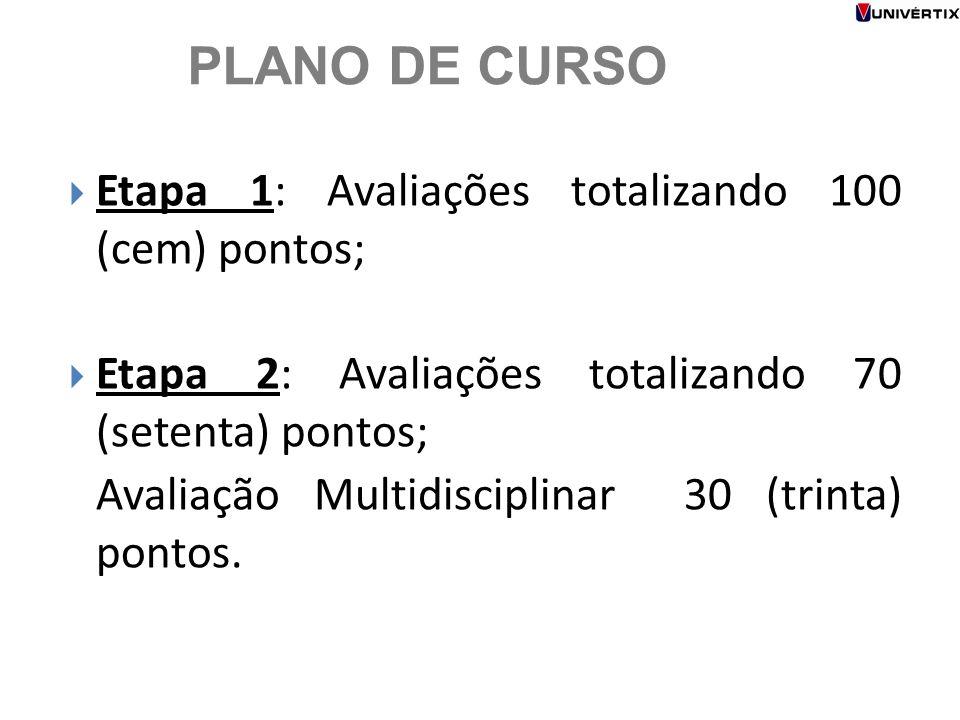 PLANO DE CURSO Etapa 1: Avaliações totalizando 100 (cem) pontos;