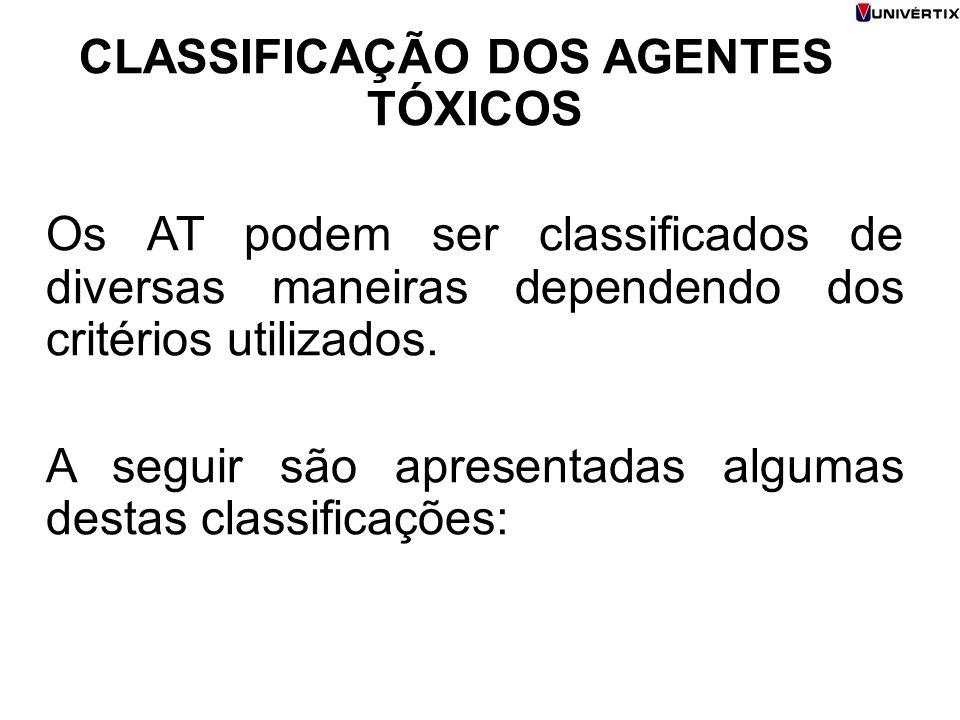 CLASSIFICAÇÃO DOS AGENTES TÓXICOS Os AT podem ser classificados de diversas maneiras dependendo dos critérios utilizados.