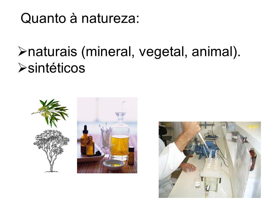 naturais (mineral, vegetal, animal). sintéticos