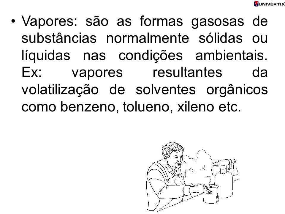 Vapores: são as formas gasosas de substâncias normalmente sólidas ou líquidas nas condições ambientais.