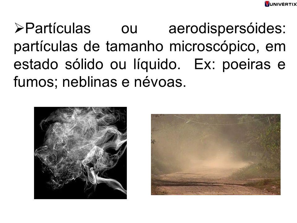 Partículas ou aerodispersóides: partículas de tamanho microscópico, em estado sólido ou líquido.