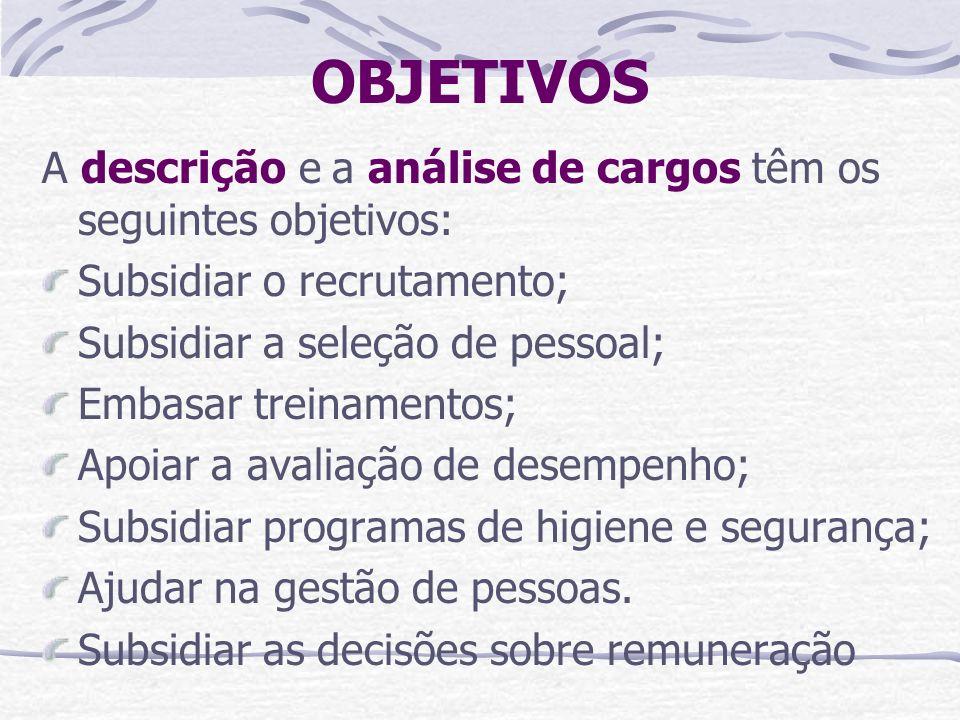 OBJETIVOS A descrição e a análise de cargos têm os seguintes objetivos: Subsidiar o recrutamento; Subsidiar a seleção de pessoal;