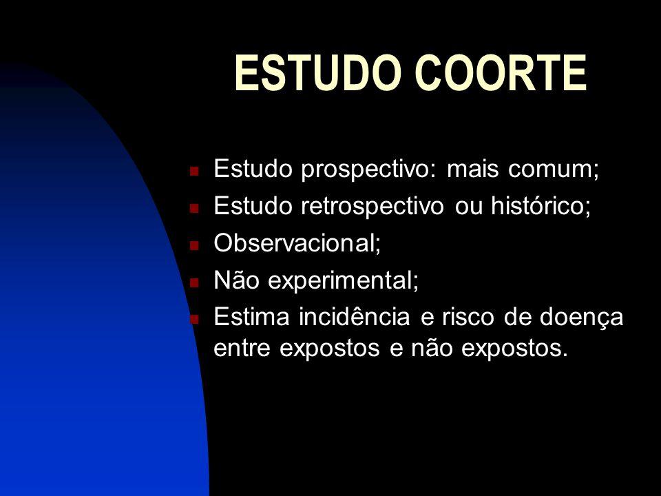 ESTUDO COORTE Estudo prospectivo: mais comum;