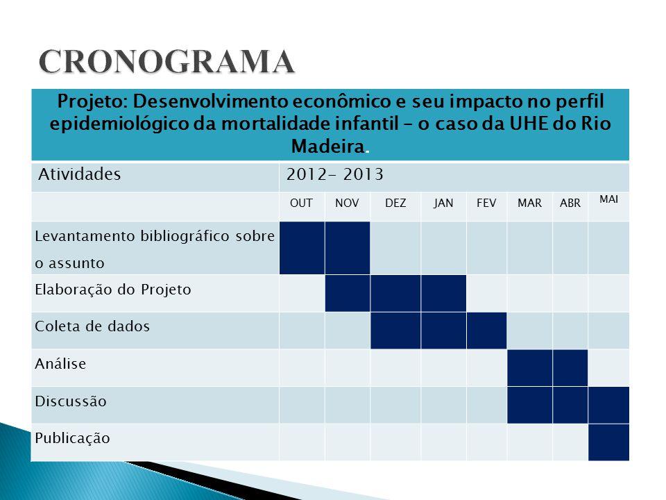 CRONOGRAMA Projeto: Desenvolvimento econômico e seu impacto no perfil epidemiológico da mortalidade infantil – o caso da UHE do Rio Madeira.