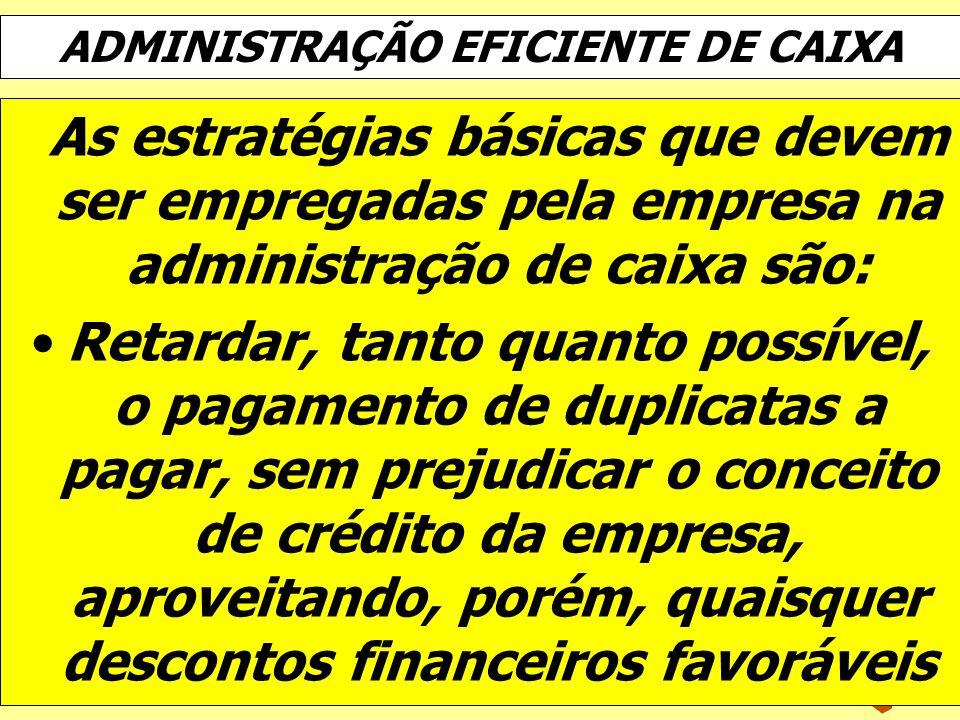 ADMINISTRAÇÃO EFICIENTE DE CAIXA