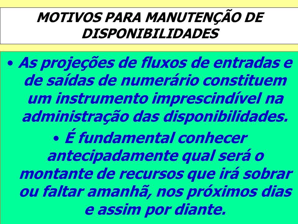 MOTIVOS PARA MANUTENÇÃO DE DISPONIBILIDADES