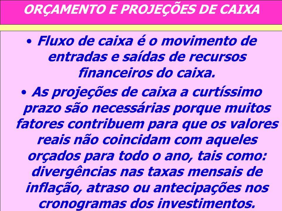 ORÇAMENTO E PROJEÇÕES DE CAIXA