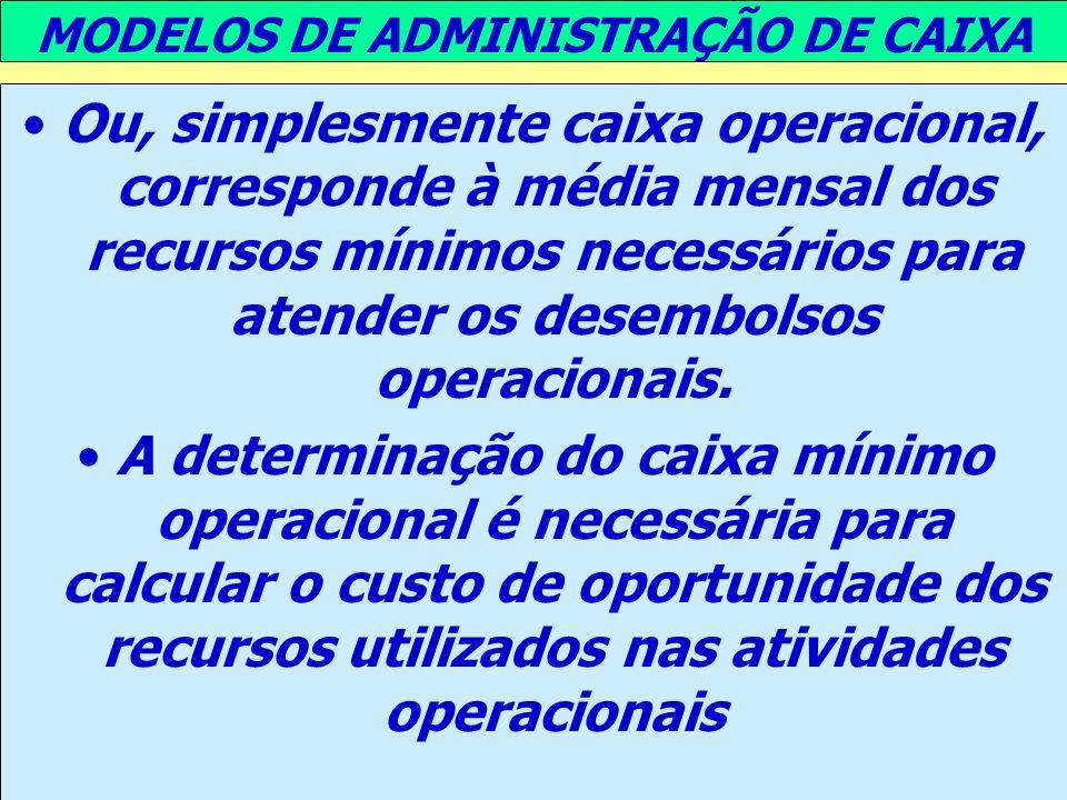MODELOS DE ADMINISTRAÇÃO DE CAIXA