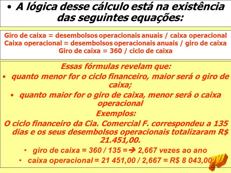 A lógica desse cálculo está na existência das seguintes equações: