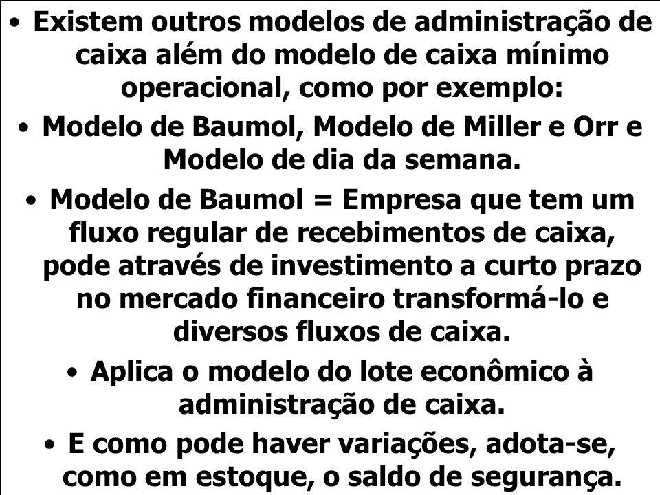 Modelo de Baumol, Modelo de Miller e Orr e Modelo de dia da semana.