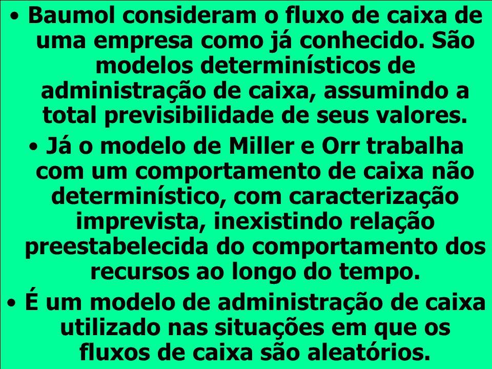 Baumol consideram o fluxo de caixa de uma empresa como já conhecido