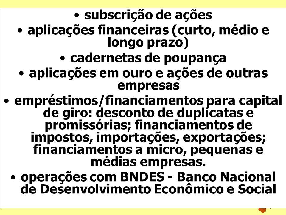 aplicações financeiras (curto, médio e longo prazo)