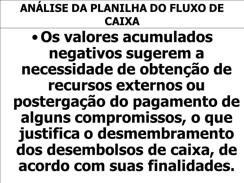 ANÁLISE DA PLANILHA DO FLUXO DE CAIXA
