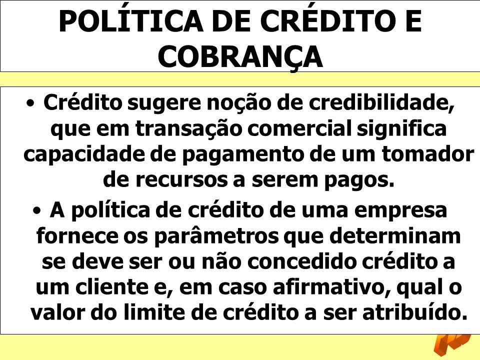 POLÍTICA DE CRÉDITO E COBRANÇA