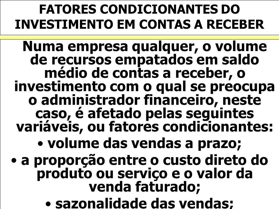 FATORES CONDICIONANTES DO INVESTIMENTO EM CONTAS A RECEBER