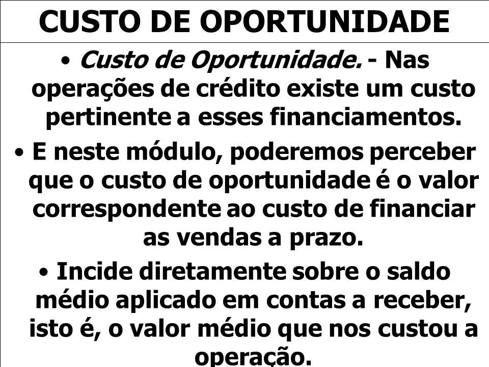 CUSTO DE OPORTUNIDADECusto de Oportunidade. - Nas operações de crédito existe um custo pertinente a esses financiamentos.