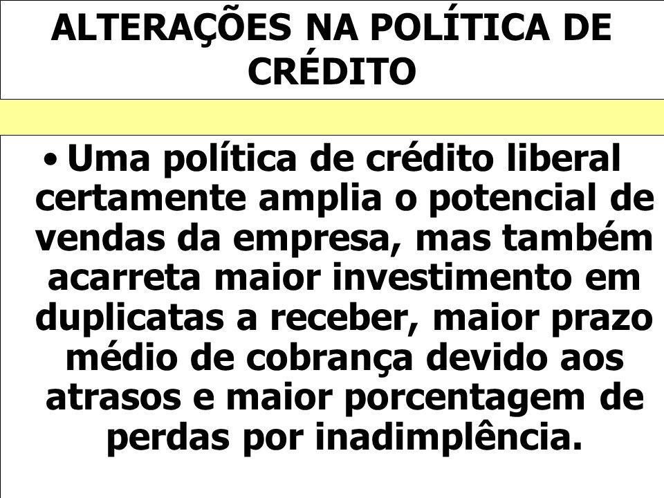 ALTERAÇÕES NA POLÍTICA DE CRÉDITO