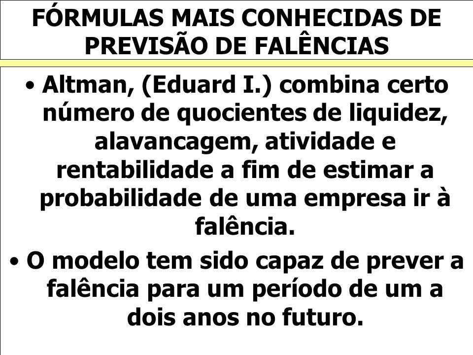 FÓRMULAS MAIS CONHECIDAS DE PREVISÃO DE FALÊNCIAS