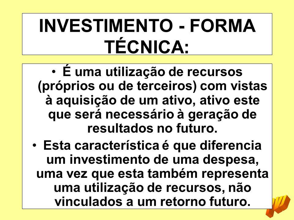 INVESTIMENTO - FORMA TÉCNICA: