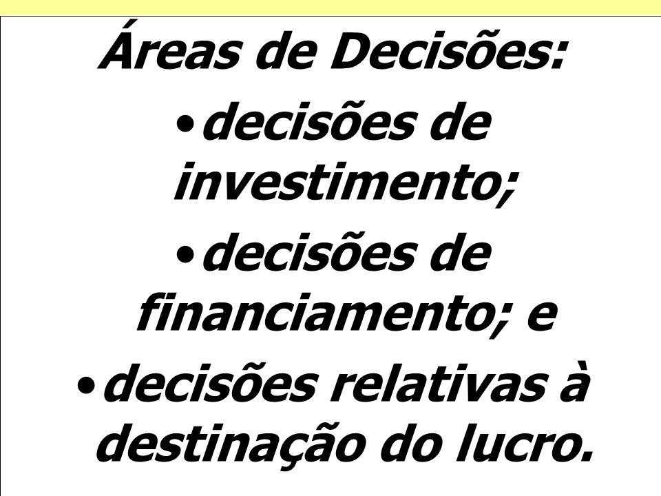 decisões de investimento; decisões de financiamento; e