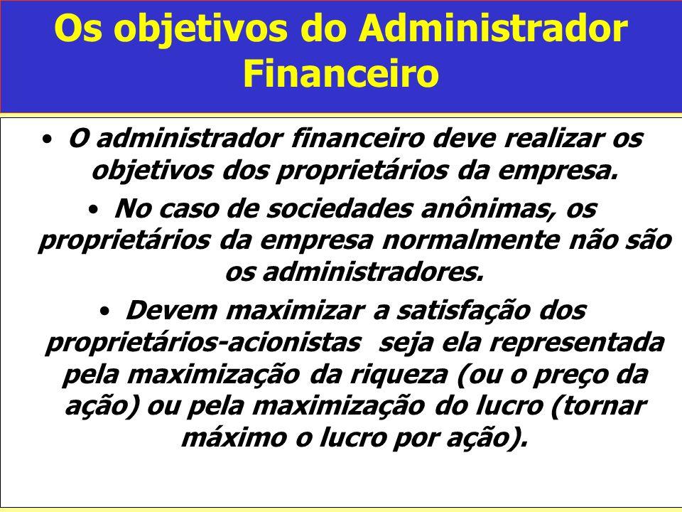 Os objetivos do Administrador Financeiro