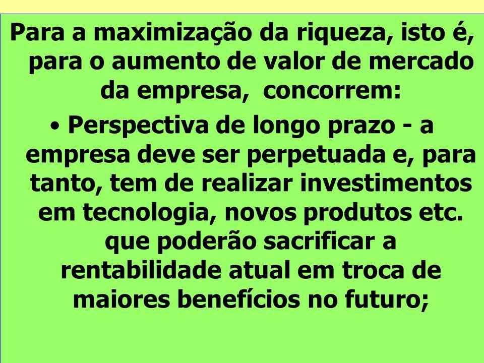 Para a maximização da riqueza, isto é, para o aumento de valor de mercado da empresa, concorrem: