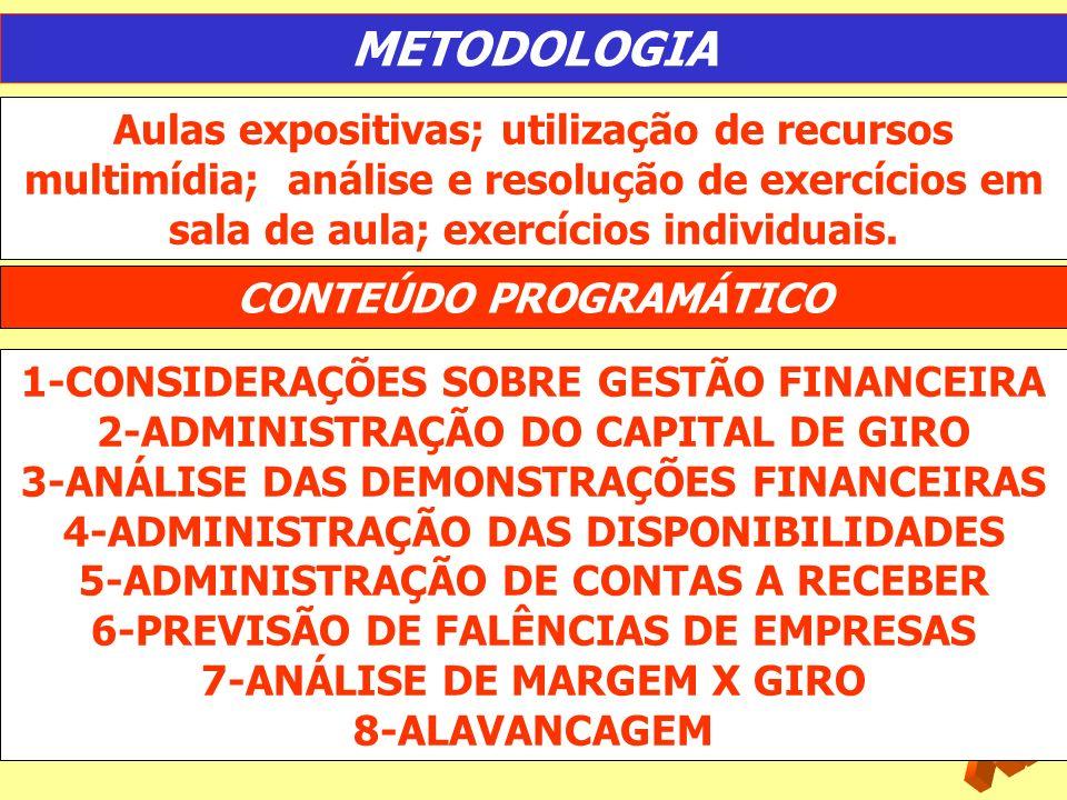 METODOLOGIA Aulas expositivas; utilização de recursos multimídia; análise e resolução de exercícios em sala de aula; exercícios individuais.