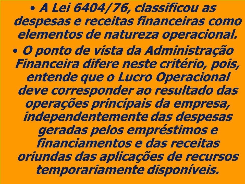 A Lei 6404/76, classificou as despesas e receitas financeiras como elementos de natureza operacional.