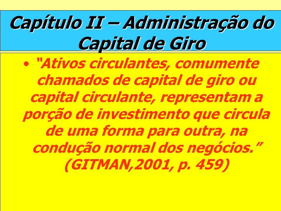 Capítulo II – Administração do Capital de Giro