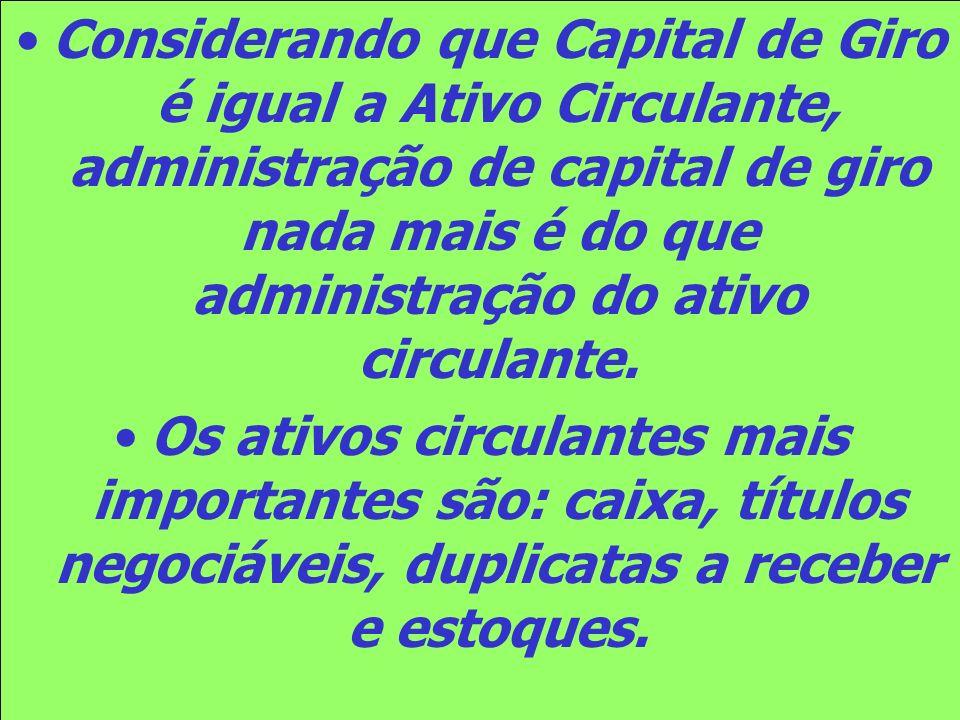Considerando que Capital de Giro é igual a Ativo Circulante, administração de capital de giro nada mais é do que administração do ativo circulante.