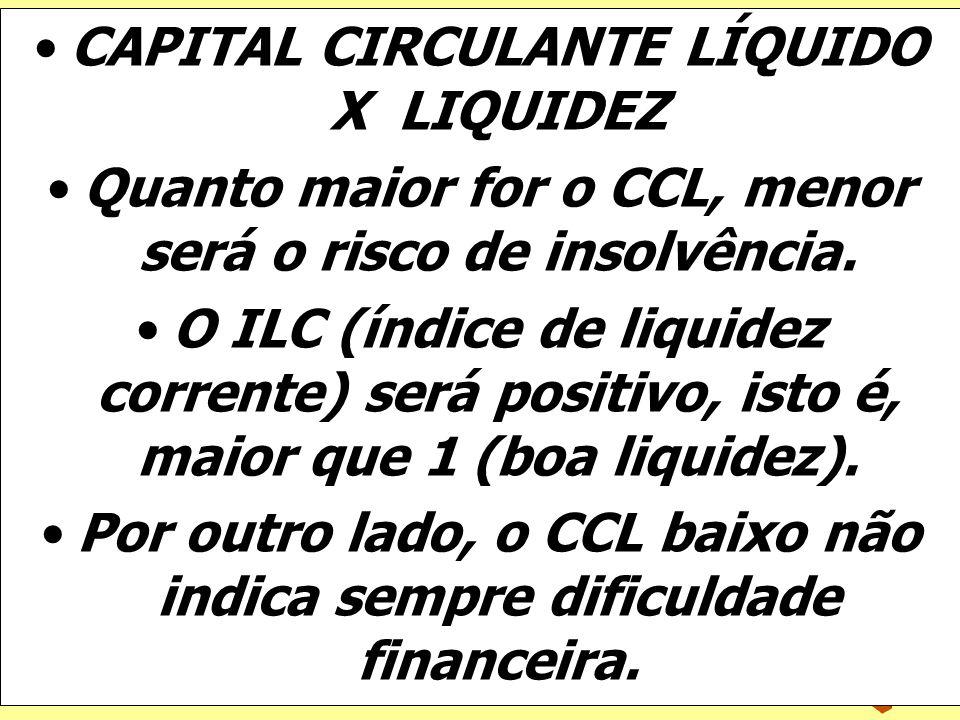 CAPITAL CIRCULANTE LÍQUIDO X LIQUIDEZ
