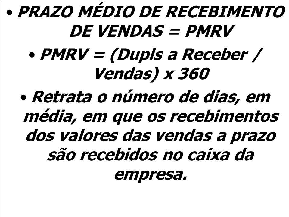 PRAZO MÉDIO DE RECEBIMENTO DE VENDAS = PMRV